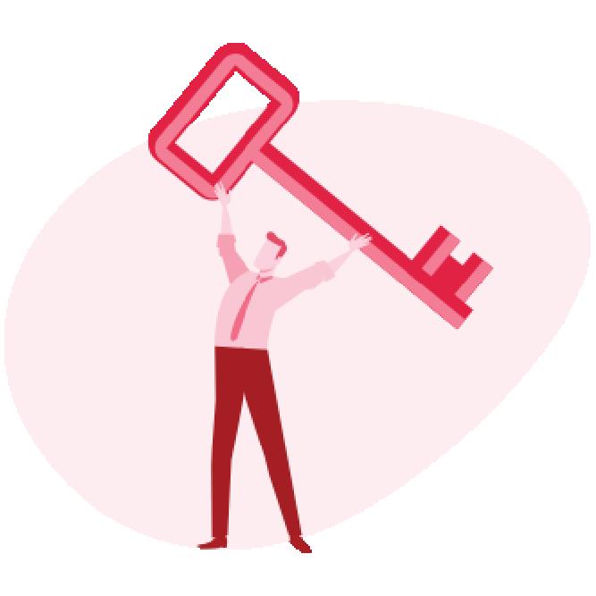 ilustracja mężczyzny trzymającego ogromny klucz