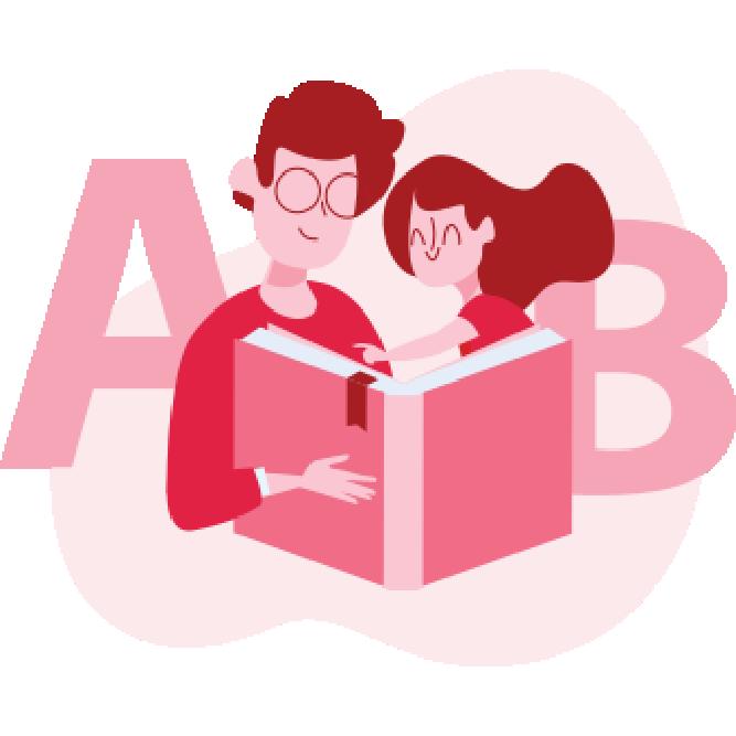 ilustracja AB - wspólne czytanie książki