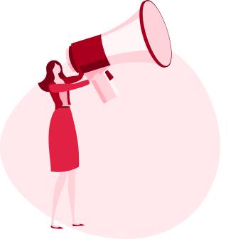 ilustracja kobiety, która trzyma w rękach bardzo duży megafon