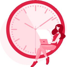 ilustracja kobiety z laptopem na kolanach siedzącej na obramowaniu zegara