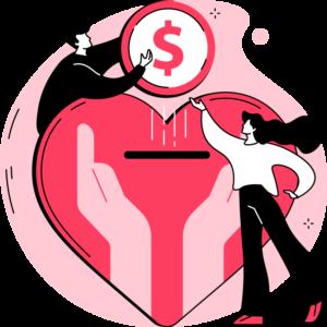 ilustracja skarbonki w kształcie serca, mężczyzna z pomocą kobiety wrzuca pieniądz do niej