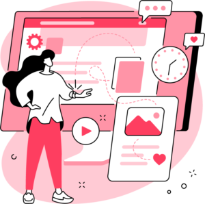 ilustracja kobiety, której zegarek łączy się z innymi mobilnymi urządzeniami