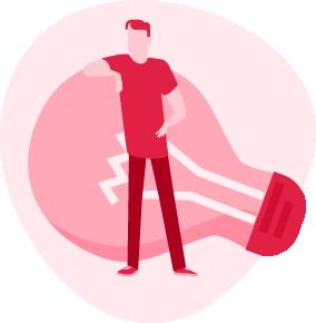 ilustracja mężczyzny opierającego się o bardzo dużą żarówkę