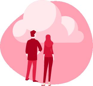 ilustracja kobiety i mężczyzny patrzących w chmurę