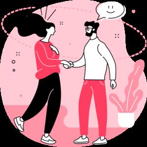 ilustracja kobiety i mężczyzny witających się uściskiem dłoni