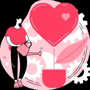 ilustracja kobiety z konewką i ogromnego serca, które wyrasta z doniczki